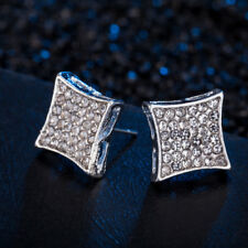 Men's Hip Hop Iced Out Square Stud Earrings 18K Rose Gold Plated