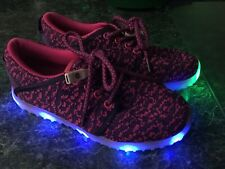 Girls Led Light Up Flashing Sneakers Shoes Pink Purple Size 1 Excellent Conditio
