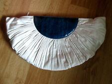 Vintage 80s Unique White Leather & blue EELSKIN Clutch Purse handbag