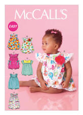 McCall's Sewing Pattern SZ NB-XL Babies Easy Rompers Mock Wrap Front M7107