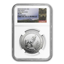 2015 3/4 oz Silver Canadian Grey Wolf MS-69 NGC (Early Release)