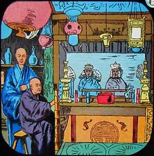 Glass Magic Lantern Slide CHINESE MERCHANTS C1890 LAND OF THE PIGTAIL NO8 CHINA