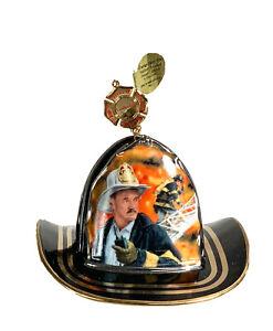 "Courage Under Fire: ""Leadership"" Black Fire Helmet Christmas Ornament"