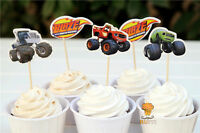 12 x Blaze And The Monster Machines Cake Picks Cupcake Toppers Birthday Party