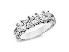5Stone 1.55ct Diamond Wedding Band Ring 10k White Gold Princess G-H I1 Prong