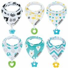 Baby Bandana Drool Bibs 6-Pack and Teething Toys 6-Pack - 100% Organic Cotton