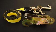 """(2) RTJ Cluster Hook 2"""" Ratchet Straps w Snap Hook Roll Back Car Hauler Trailer"""