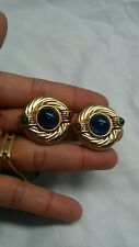Beautiful vintage blue red green gripoix  gold tone clip on earrings