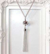 Vintage/flapper/Gatsby/1920's Long silver plate necklace with tassel 36 inches