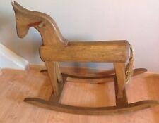 Ancien cheval à bascule en bois artisanal vintage années 40-50
