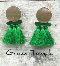 NEW! GORGEOUS LADIES LIGHT EMERALD GREEN GOLD DISC TASSLE TASSEL VOGUE EARRINGS