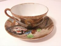 Antique Vintage Satsuma Meiji Period Mark Tea Cup Saucer Dragon Design Porcelain