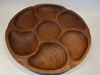 "Vintage Genuine Teak GoodWood Thailand 12"" Wooden Divided Tray Plate Server Dish"