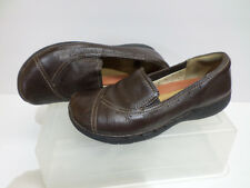 Clarks Structured Brown Leather Slip On Shoes Women's Size 6M