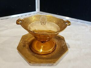 Vintage Art Deco Amber Bowl and Dish w/ Gold Ornate Overlay