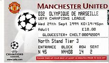Manchester United V Marsiglia 29 SETTEMBRE 1999 CHAMPIONS LEAGUE TICKET