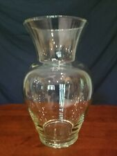 "Large Clear Glass Vase 10 1/2"" Tall"