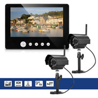 """9""""LCD Wireless Baby Monitor 4 Channel Quad Security System DVR With 2 Cameras"""
