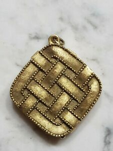 Vintage Aviance Perfume Jewelry Gold Pendant Compact