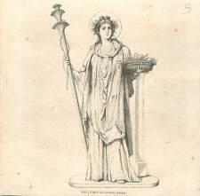 Mythologie Cérès déesse de l'agriculture des moissons la fécondité GRAVURE 1850