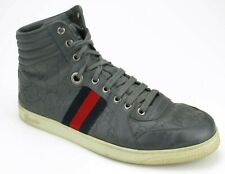 Gucci Gray Leather Guccisima Ribbon High-top Sneakers 7 UK / 8 US