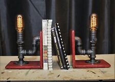 Edison Lamp Bookends. Industrial Victorian Lighting. Steampunk Lamp Bookends
