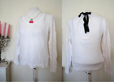 Ladies H&M Knitted Jumper Top Size M Cream Ribbon Tie Back Sexy Sweater Blouse