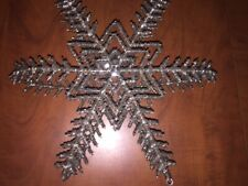 "Pottery Barn Beaded Hanging Snow Flake Tealight Holder Holiday Ornament 13"" NEW"