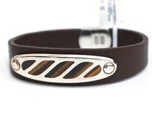 New DAVID YURMAN Men's Cable Graphic Bracelet Tiger's Eye & Brown Leather Large