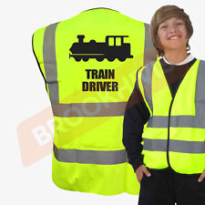 HI VIZ VIS TRAIN DRIVER KIDS VEST FANCY DRESS JOKE CUSTOM WAISTCOAT CHILD