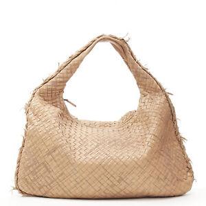 BOTTEGA VENETA tan brown intrecciato woven embroidered frayed hobo bag