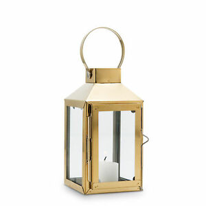Lantern Candle Holder Gold Stainless Steel and Glass