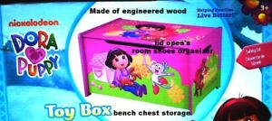 DORA EXPLORER~GIRL~WOODEN BENCH CHEST~LID TOY BOX~BEDROOM SHOE STORAGE ORGANIZER