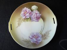 Vintage R&S GERMANY TILLOWITZ SILESIA Pink Flowers DOUBLED HANDLED Cake PLATE