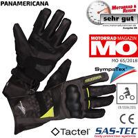 MODEKA Motorradhandschuhe PANAMERICANA schwarz gelb CE Knöchelprotektor 10 / XL
