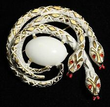 Vintage ART Arthur Pepper Ornate White Enamel Rhinestone 3 Snakes Brooch Pin