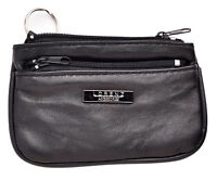 Mens Ladies Soft Genuine Nappa Leather Zipped Coin Key Change Purse Case Black
