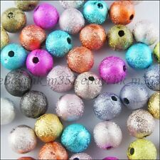 80Pcs Mixed Colours Stardust Acrylic Round Ball Charms Spacer Beads 6MM