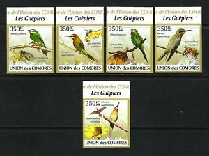 Comoros 2009 Mi#2352-56  Blue-Cheeked Pint-Bee Eaters  MNH Imperf. Set $11.50