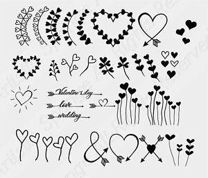 Set Of Hearts Reusable Stencil A5 A4 A3 Wedding Love Valentine's Day Art/ Deco21