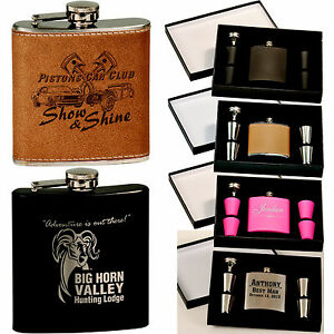Personalized Flask With Shot Glasses Custom Engraved Gift Set