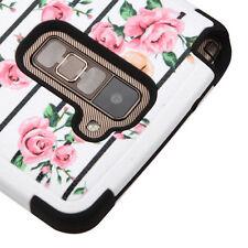 LG G Stylo 2 / PLUS MS550 -Pink Stripe Rose Flower HYBRID Armor Phone Case Cover