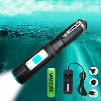 Waterproof Scuba Diving Flashlight LED Torch Underwater Light 18650 Rechargeable