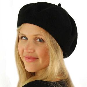 Classic Winter 100% Wool Warm French Art Basque Beret Tam Beanie Hat Cap Black