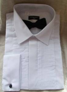 """Clermont Direct Dress Shirt & Bow Tie.17.5"""" 48""""Chest. Double Cuff Formal Evening"""