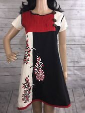 XS Unique Japanese Lolita Style Dress Red White Black Pleated Muslin Cute Floral