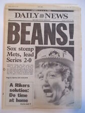 BEANS RED SOX BEAT METS GAME 2  WS NEW YORK DAILY NEWS NEWSPAPER 10/20 1996
