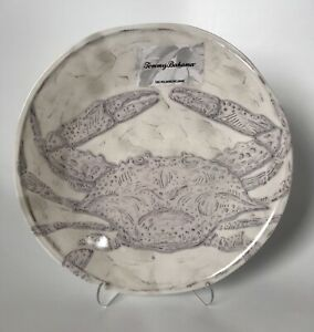 "Tommy Bahama Melamine 11"" Dinner Plates Gray Crab Coastal Ocean Set Of (4) New"