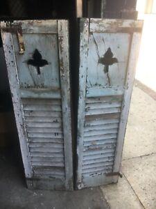 """PaiR c1910 fleur de lis cutout design house shutters 47"""" x 14.5"""" New Britain CT"""