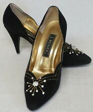 Vintage J Renee Black Suede and Diamante Stiletto Evening Shoes Size UK 7 / US 9